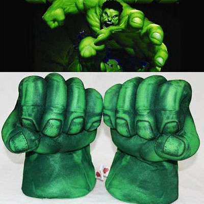 1 Pair Funny Hulk Smash Hands Plush Punching Boxing Fists Gloves Cosplay Green