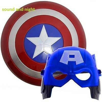 2PCS Super Hero Avenger Marvel Captain America Shield&Mask Cosplay Kids Gift UK