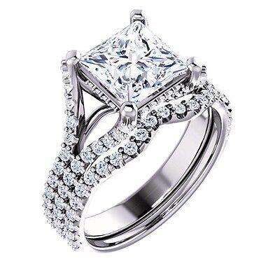 2.20 Ct Princess Cut Diamond Prong & Pave Engagement Ring & Band Set F,VVS2 GIA