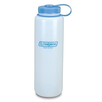 NEW Nalgene Ultralite Wide Mouth HDPE Silo 48oz Water Bottle Natural w/Blue Lid