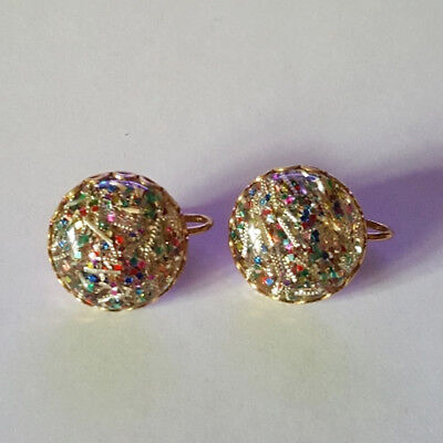 Vintage 50's Multi-Colored Round Clip On Fashion Earrings