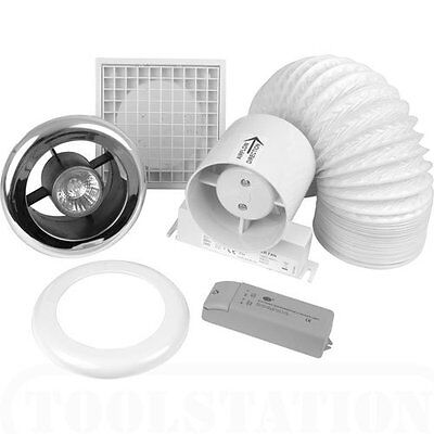 Bathroom/Shower Extractor Fan Light Kit With Timer - Low Voltage - Chrome