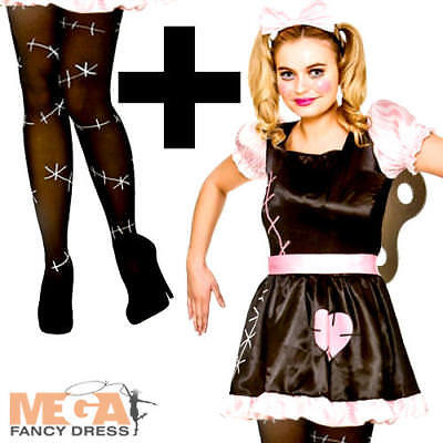Wind Up Doll + Tights Ladies Fancy Dress Cursed Dolly Adults Halloween Costume - Wind Up Halloween Costume