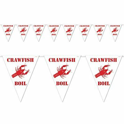 Beistle Crawfish Boil Pennant Banner, 10 by 12-Feet, White/Red, Party - Crawfish Boil Supplies