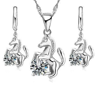 925 Silber Mädchen Schmuckset Kette + Anhänger + Ohrringe Pferd Pferde Zirkonia