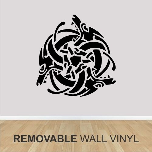 Wall+Vinyl+-++CELTIC+DRAGON+WEAVE+++-+24%22+x+24%22+-++Removable+Black+Decal