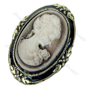 Vintage-Victorian-Design-Queen-Lady-Cameo-Black-Enamel-Bronze-Brooch-Pin