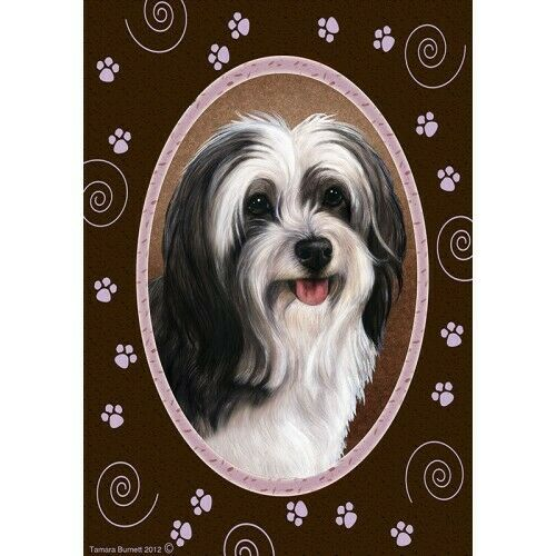 Paws House Flag - Black and White Tibetan Terrier 17478