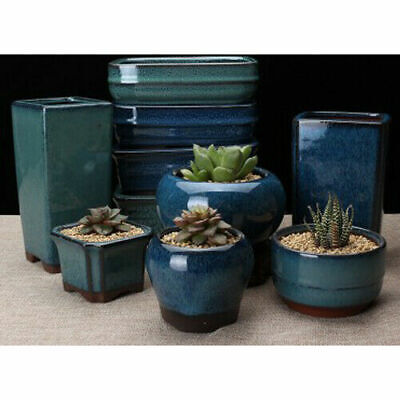 Gardening Plant Pot (Ceramics Bonsai Flower Pot Round Glazed Plant Flowerpot Home garden Decor USA )