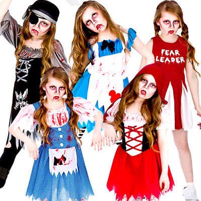 Zombie + Blood Halloween Girls Fancy Dress Horror Spooky Kids Childrens - Spooky Kids Halloween Costumes