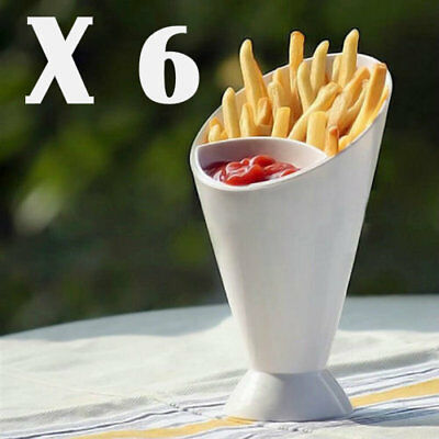 SET OF 6 SNACK CONE STANDS + DIP HOLDER French Fries/Chip/Bites/Finger Food/Bowl