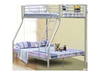 - TRIO SLEEPER BUNK BED -Solid Frame With Mattress - Single Top Double Bottom - BRAND NEW