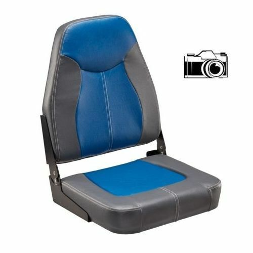 Details About Boat Seats Folding Blue Charcoal Gray High Back Boat Seat Fishing Pontoon Boats