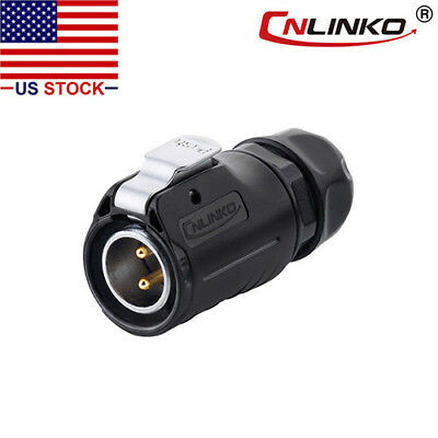 2 Pins Industrial Connector-Male Plug,Outdoor,IP67,Fit RVs (LP-20-C02PE-01-001)