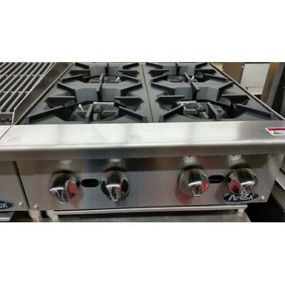 24 4 Burner Commercial Counter Top Gas Hot Plate Range Stove Nat Lp Gas