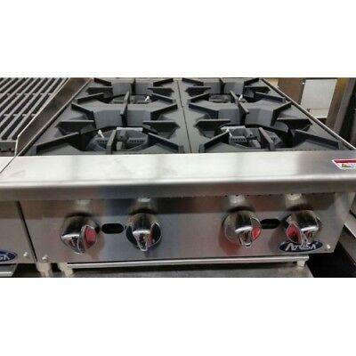 24 4 Burner Commercial Counter Top Gas Hot Plate Range Stove Nat Lp Gas