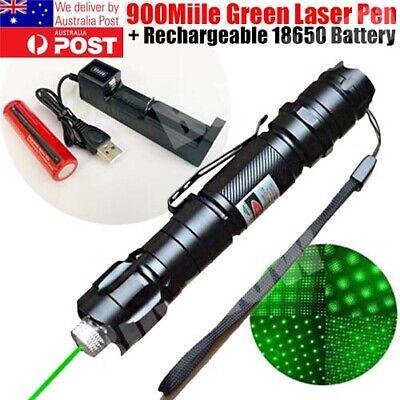 900Miles Green Laser Pointer Pen 532nm Zoom Focus Beam Astronomy Light+Batt+Cha