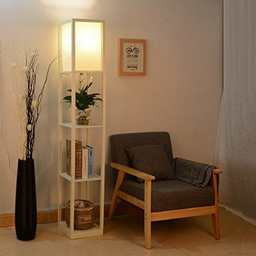 Floor Lamp Wood Shelf Led Standing Light Storage Sunlight Be