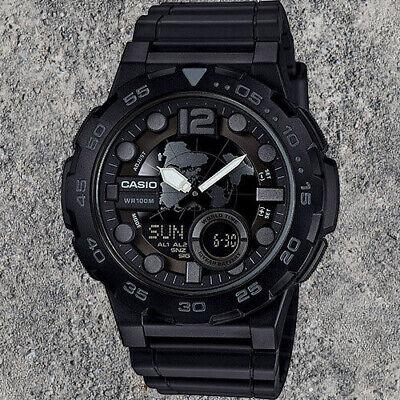 Casio AEQ-100W-1BV Mens Black 100M World Time Digital/ Analog Sports Watch -