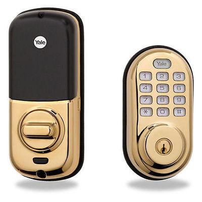 Yale-Electronic-Push-Button-Deadbolt-Motorized-Lock-Zwave-Alexa-SmartThings-Gold