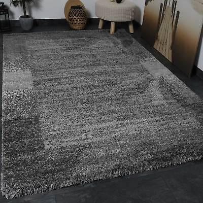 Shaggy Teppich Farbe Grau Weiss Extra Flauschig Extra Weich Bordüre Muster ()