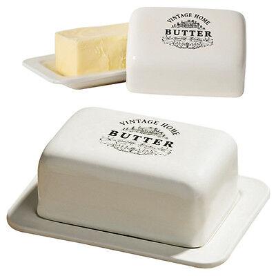 Vintage Cream Ceramic Butter Dish Tray Holder with Lid Kitchen Fridge Storage