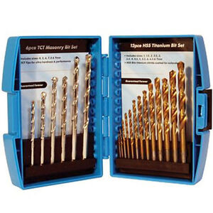 NEW-19-PC-HSS-TITANIUM-TCT-MASONARY-MASONRY-WOOD-BRICK-METAL-DRILL-BIT-SET