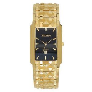 Elgin Mens Gold-Tone & Diamond-Accent Rectangular Watch FG8014
