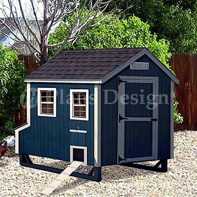 4x7 Gable Style Chicken Poultry Coop Plans 90407g