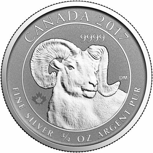 2017 Canadian Animal Portrait Series Big Horn Sheep 3/4 oz Silver UNC. RP Coin