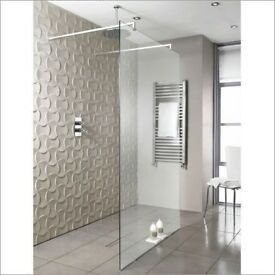 BRAND NEW BathStore Walk In Glass Shower Screen With Fittings RRP 469