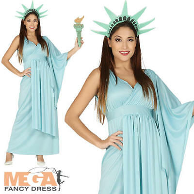 Statue Of Libery Ladies Fancy Dress New York USA American Novelty Adults Costume ()