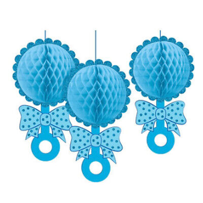 BABY SHOWER Boy DELUXE HONEYCOMB DECORATIONS (3) ~ Party Supplies Rattle Blue](Baby Boy Party Supplies)