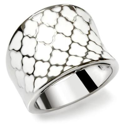 MJS -STAINLESS STEEL WHITE ENAMEL CLOVER FASHION STATEMENT RING SIZE 8