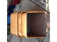 NEST OF 3 TABLES OAK 1970S ORIGINAL IDEAL RETRO LOOK FURNITURE!!!!!
