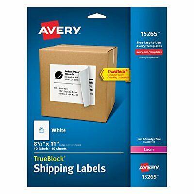 Avery Shipping Address Full Sheet Labels 8.5 X 11 Trueblock 10 Labels