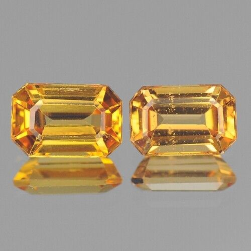 1.56cts Nice Octagon Pair Golden Yellow Natural Sapphire Loose Genuine Gemstones