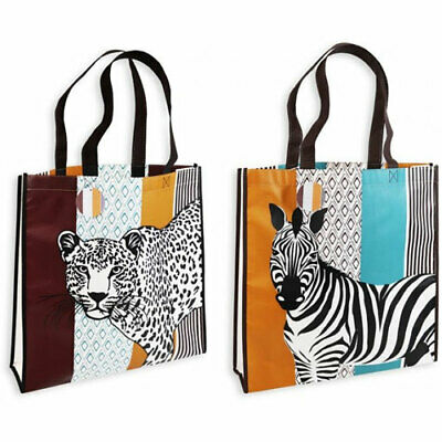 TWO LEOPARD/ZEBRA REUSABLE SHOPPING BAGS