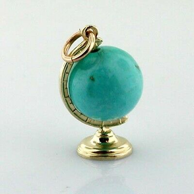 14K Gold Spinning Turquoise Globe World 3D Movable Charm Gold 3d Globe Charm