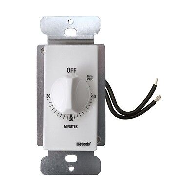 Woods 59714 Decora Style 30-minute Timer Mechanical Wall Switch White