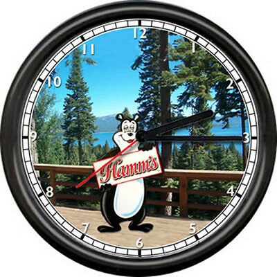 Hamm's Hamms Cabin Deck Beer Bear Bar Tavern Game Room Sign Wall Clock