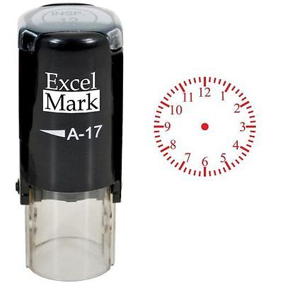NEW ExcelMark CLOCK Round Self Inking Teacher Stamp A17 | Red Ink