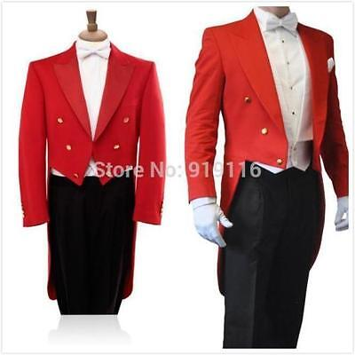 2019 Tailcoat Groom Red 3 Pieces Best Men Wedding Tuxedo Formal Prom Suit