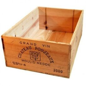 12 BOTTLE TRADITIONAL-SIZE WOODEN WINE BOXES/ VARIOUS VINEYARDS