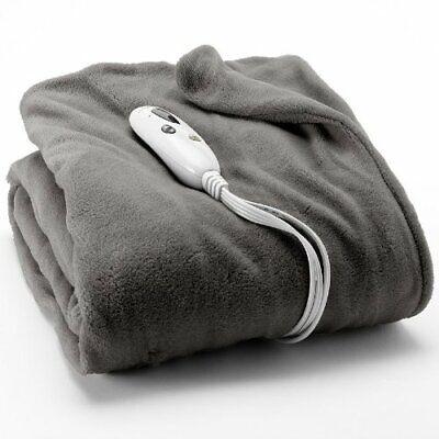 Biddeford Solid Plush Heated Electric Throw - Grey