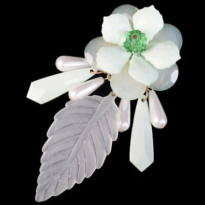 Carved Green Turquoise Pearl Leaf Teardrop Flower Pendant Bead -