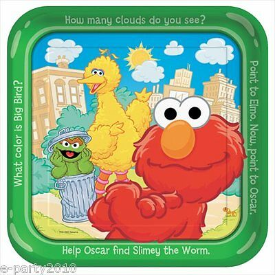 Sesame Street Party Plates (SESAME STREET Sunny Days LARGE PAPER PLATES (8) ~ Birthday Party Supplies)