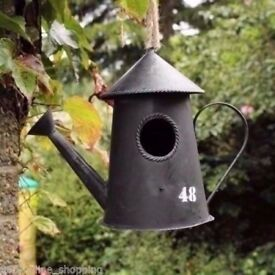 Metal Vintage Bird House Ornament Nesting Box Wild Garden Birds Antique Rustic