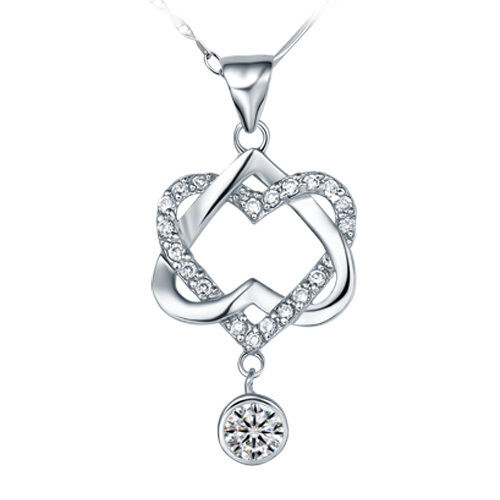 $9.99 - Fashion 925 Sterling Silver White Crystal Heart Pendant Necklace Women's Jewelry