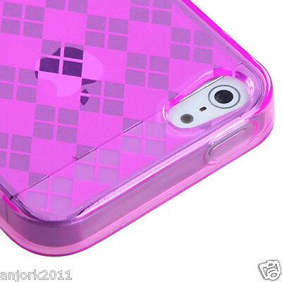 APPLE iPHONE 5 CANDY GEL TPU SKIN CASE COVER PHONE ACCESSORY HOT PINK CHECKER